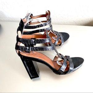 Modern vintage gladiator platform black heels